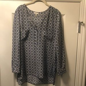 Joie Blue and White Printed Blouse - L